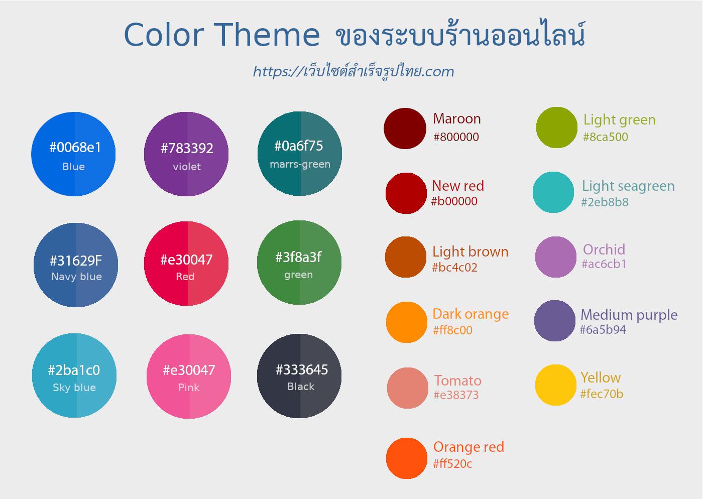 เปลี่ยนรูปลักษณ์ของร้านออนไลน์ หน้าร้านขายออนไลน์ ด้วยเทมเพลต สีธีม เมนูเว็บไซต์และอื่นๆ อีกมากมาย ด้วยการจัดการสีธีม ที่ง่ายมาก คุณสามารถเลือกสีธีมที่มีการกำหนดไว้แล้ว มากถึง 20 สี