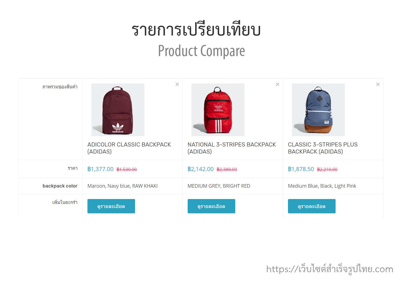 ฟีเจอร์ ecommerce ร้านออนไลน์ ขายของออนไลน์ - เปรียบเทียบสินค้า Compare products หน้าร้านออนไลน์- เปิดร้านออนไลน์ ขายของออนไลน์ เว็บอีคอมเมอร์ส ด้วยเว็บไซต์สำเร็จรูป Ninenic ecommerce