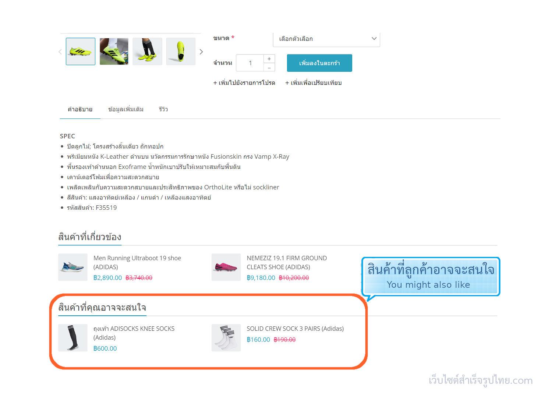 ฟีเจอร์ ecommerce ร้านออนไลน์ ขายของออนไลน์ - แสดงสินค้าเสริม (Cross sells) You might also like - เปิดร้านออนไลน์ ขายของออนไลน์ เว็บอีคอมเมอร์ส ด้วยเว็บไซต์สำเร็จรูป Ninenic ecommerce